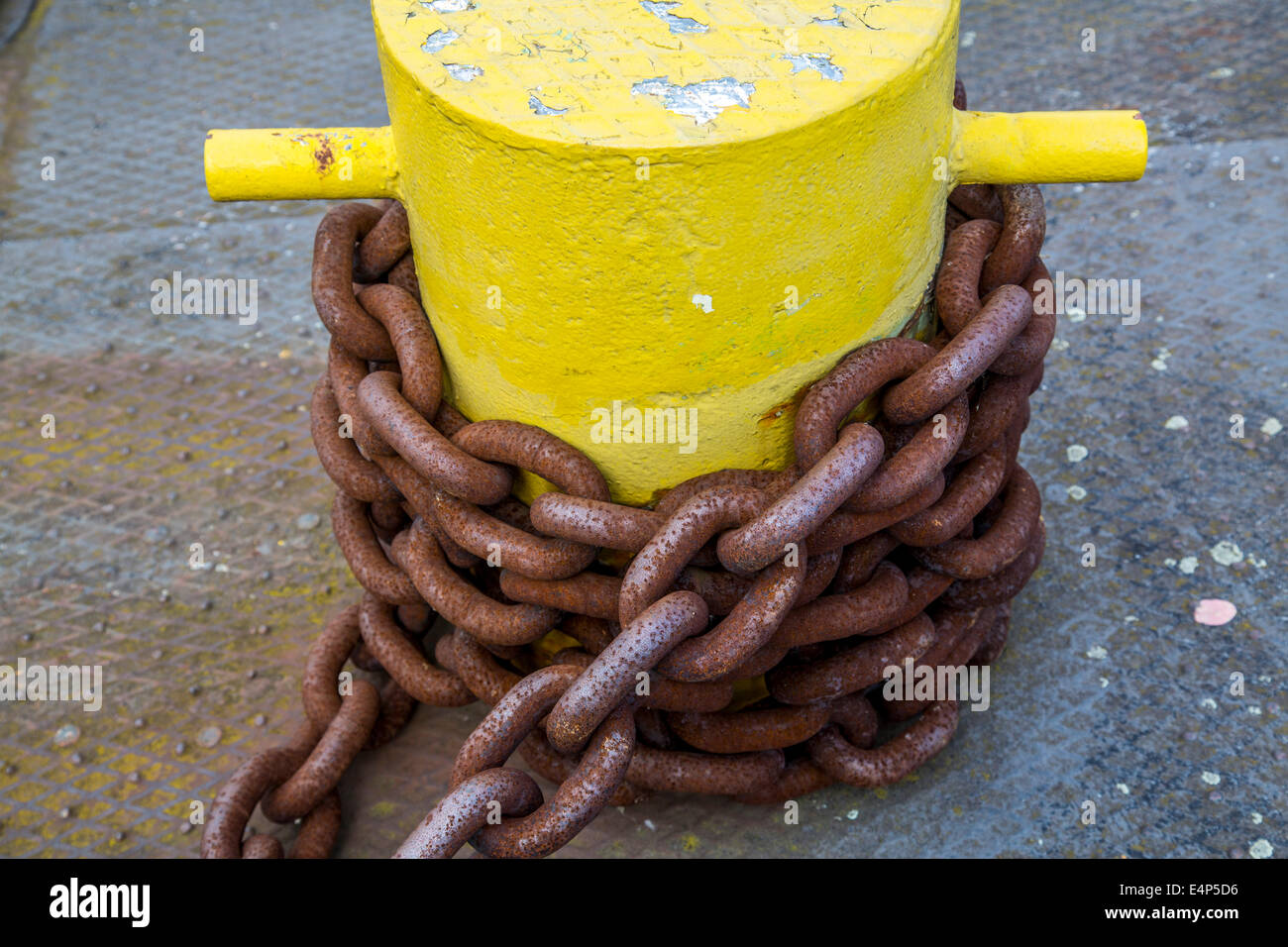 Rusted chains, chain links of a chain attachment, - Stock Image