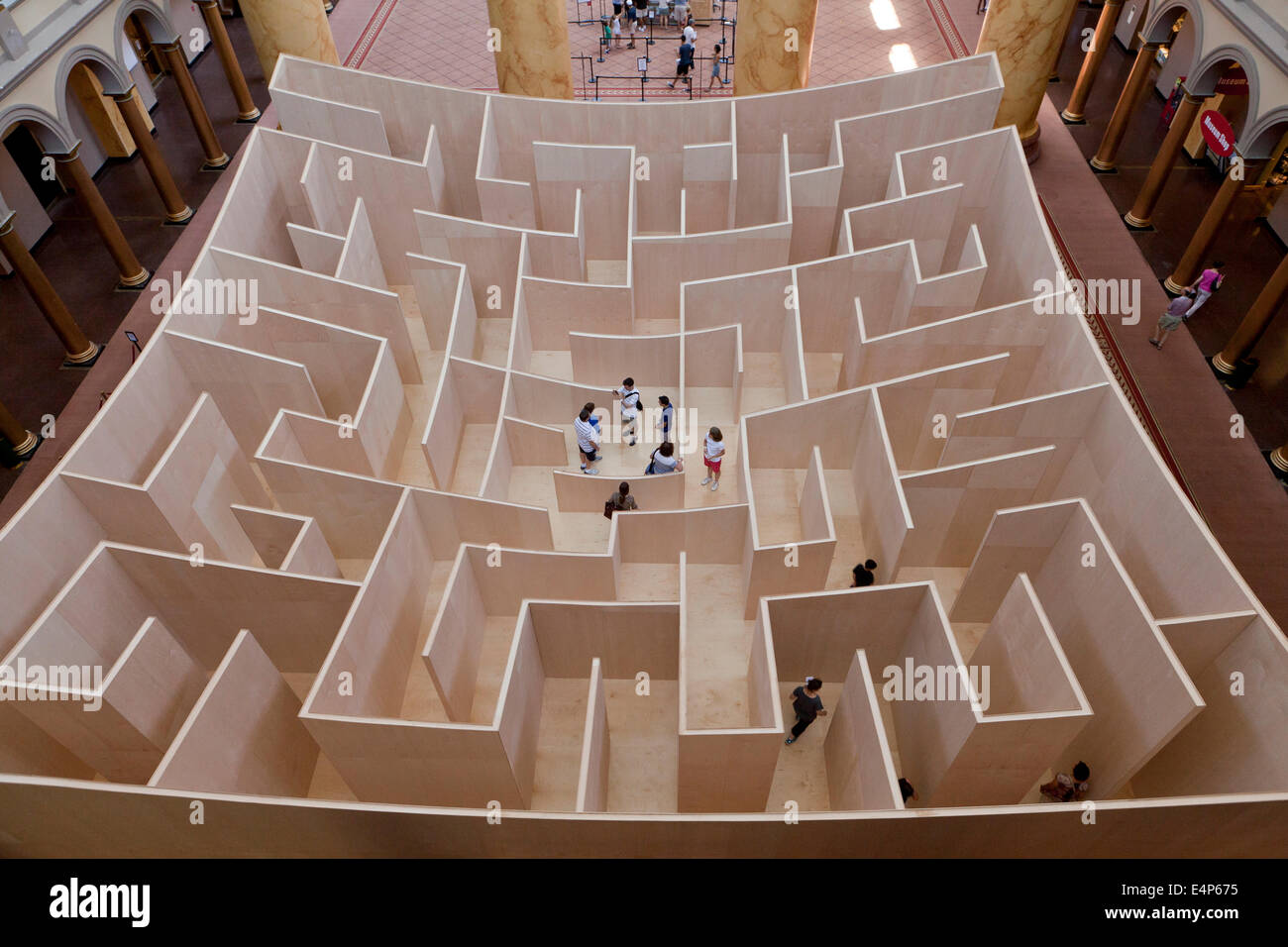 Large-scale maze at National Building Museum - Washington, DC USA - Stock Image