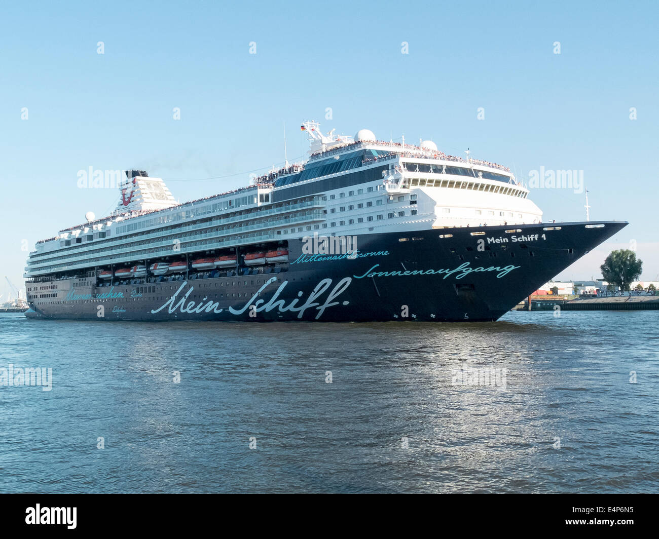 Tui Cruise Ship Mein Schiff 1 As It Leaves The Port Of Hamburg