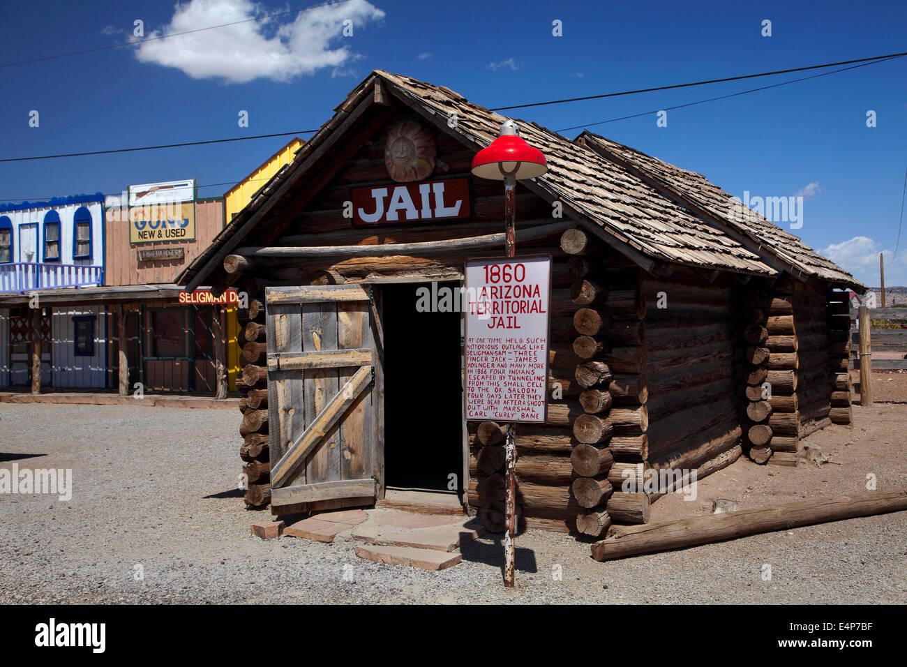 1869 Arizona Territorial Jail, Seligman, Historic U.S. Route 66, Arizona, USA - Stock Image