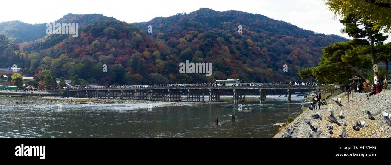 Togetsukyo Bridge in Arashiyama, Kyoto, Japan Panorama - Stock Image