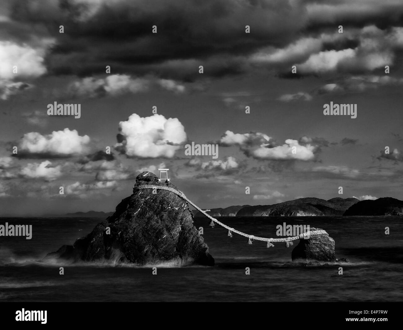 Meoto Iwa, The Married Rocks in Futami, Mie, Japan, in Monochrome - Stock Image
