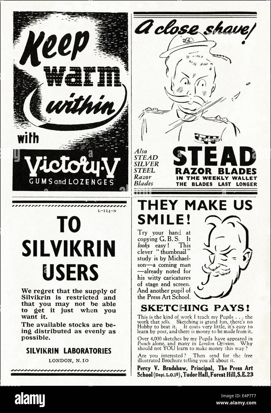 1940s adverts typical of the period in British magazine dated March 1942 - Stock Image