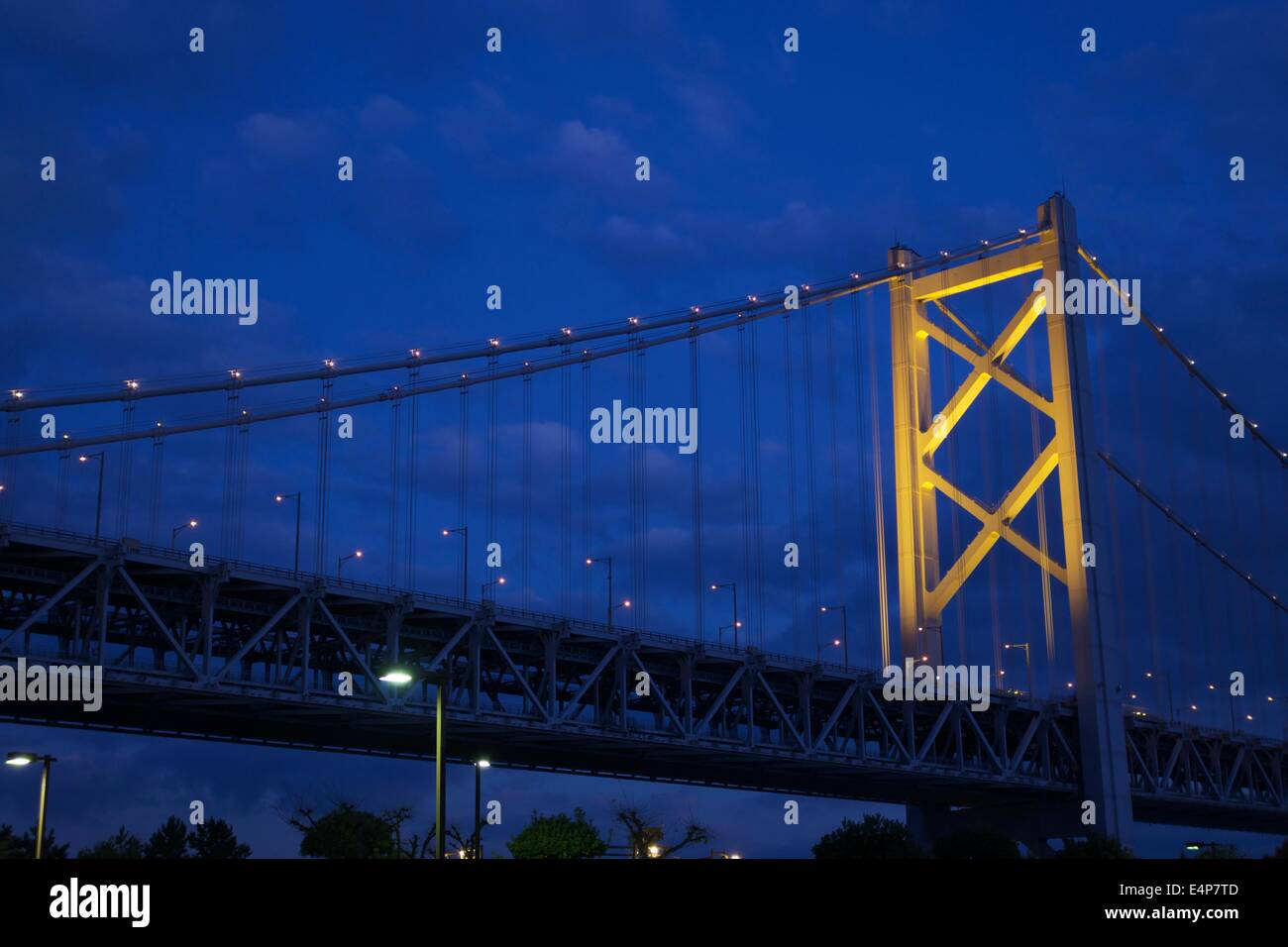 Great Seto Bridge (Seto Ohashi) at Dusk in Kagawa Prefecture, Japan Stock Photo