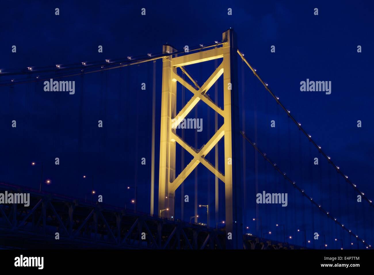 Great Seto Bridge (Seto Ohashi) at Night in Kagawa Prefecture, Japan - Stock Image
