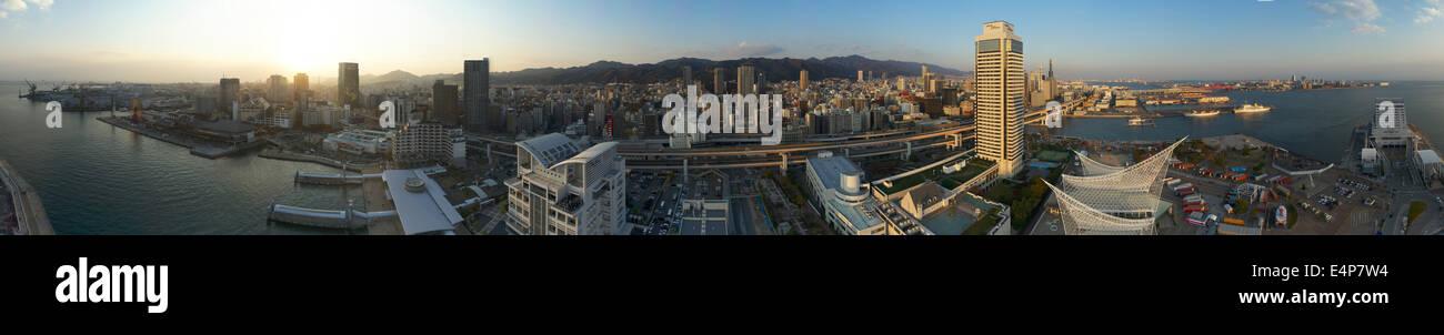360 Degree Panorama of Kobe, Japan from Kobe Port Tower Before Sunset - Stock Image
