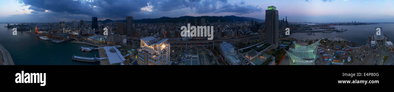 360 Degree Panorama of Kobe, Japan from Kobe Port Tower After Sunset - Stock Image