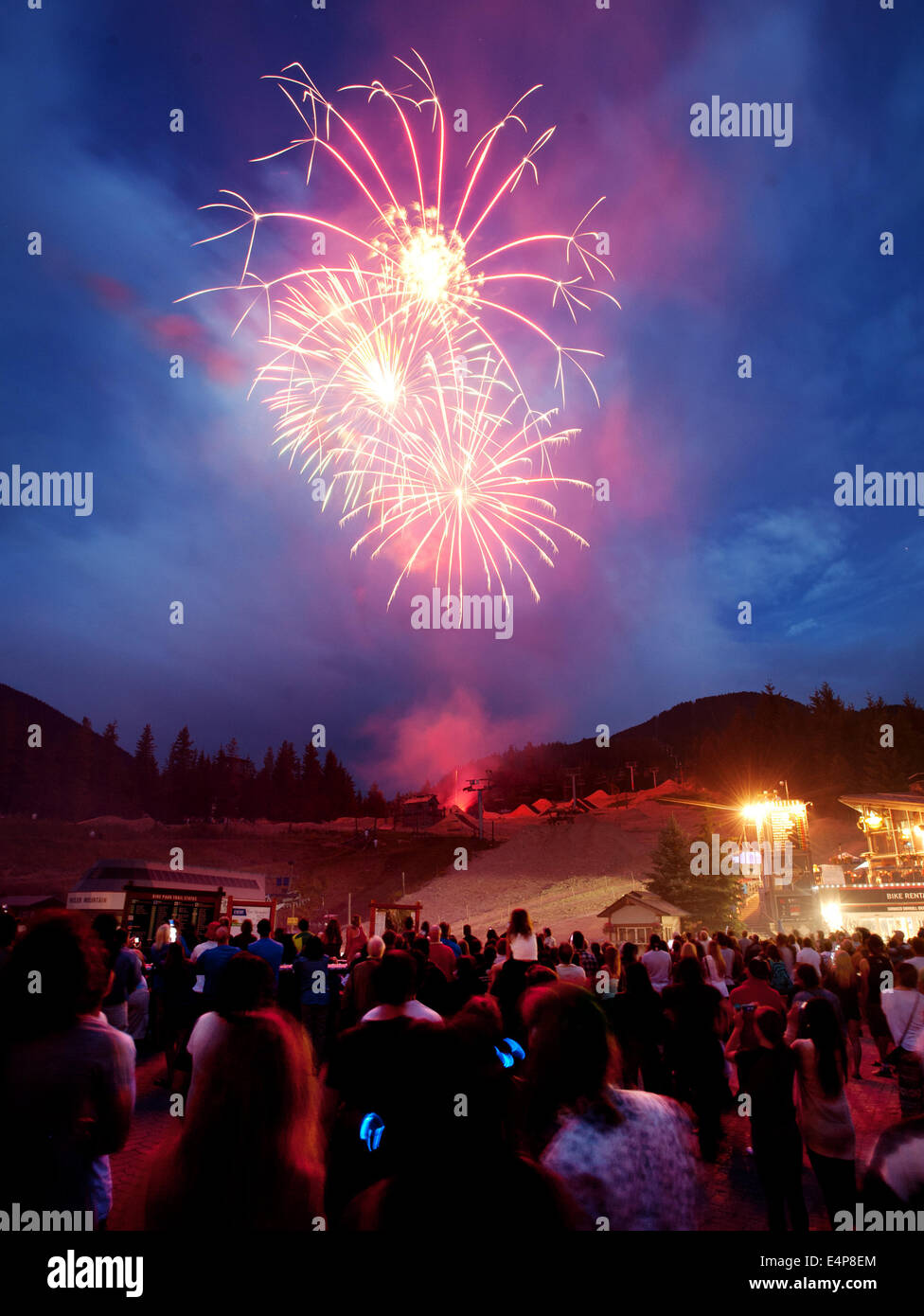 Canada Day fireworks in the Whistler Village.  Whistler BC, British Columbia, Canada - Stock Image