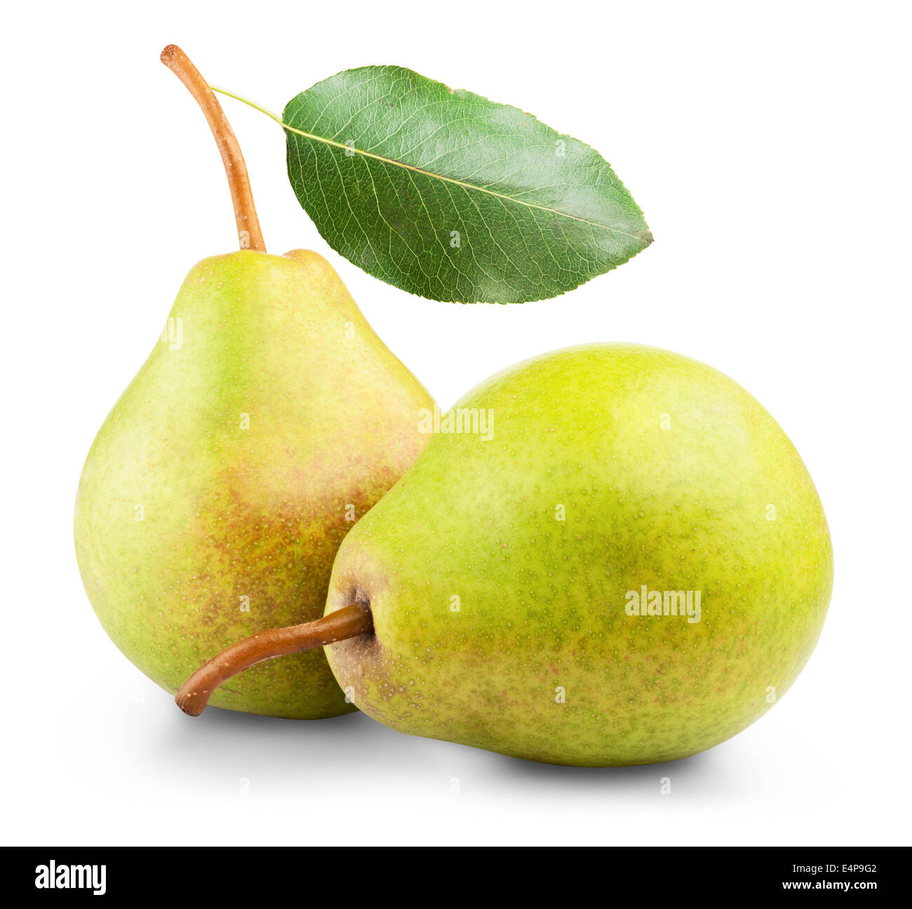 ripe pears isolated on white background - Stock Image