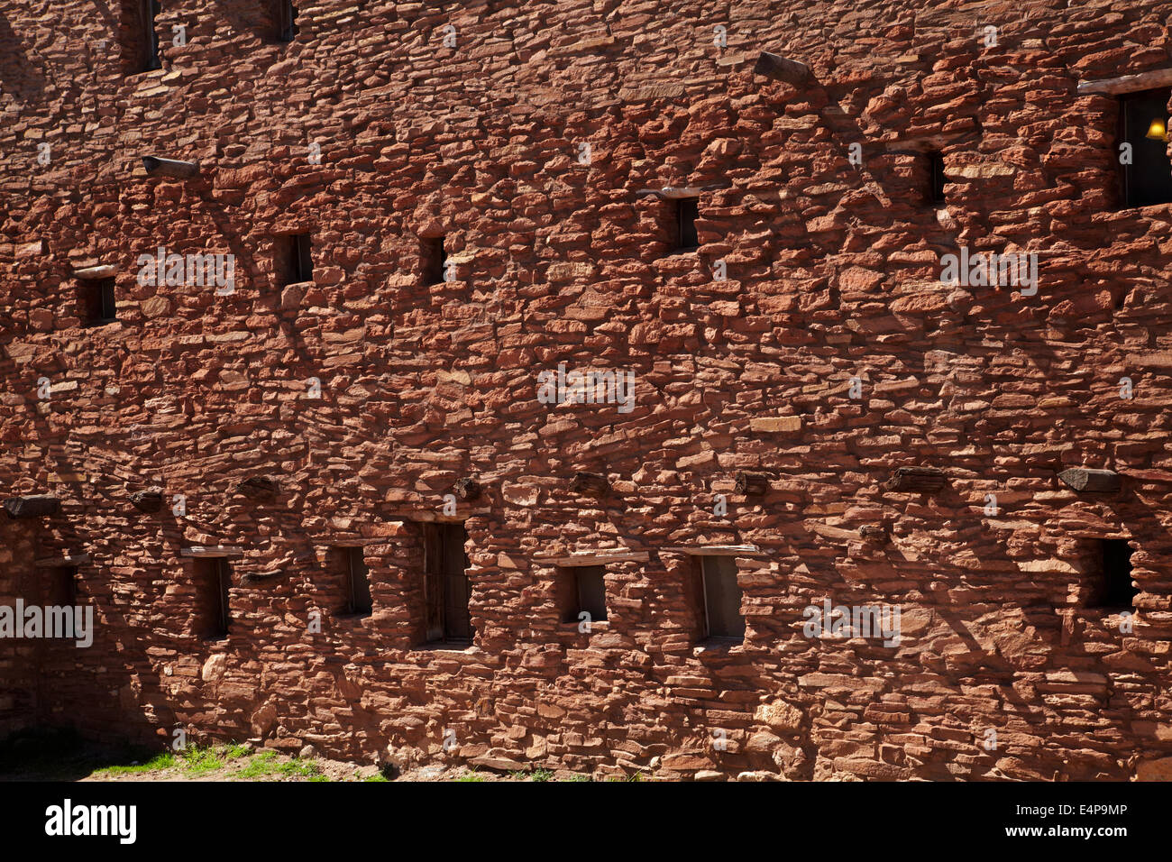 Stonework on Historic Hopi House (1905), Grand Canyon Village, South Rim, Grand Canyon National Park, Arizona, USA - Stock Image