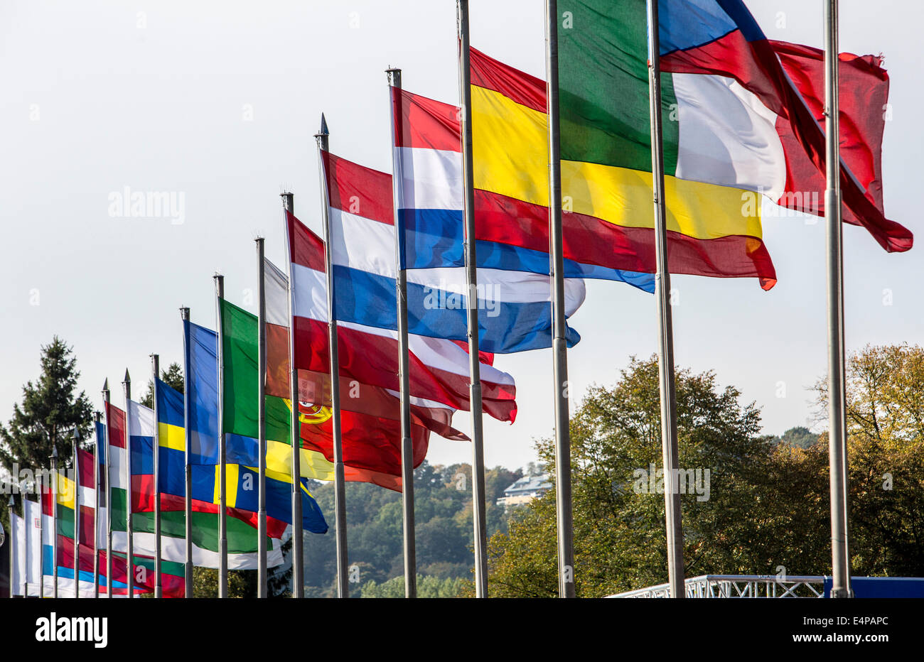 Flag poles with flags of various European countries, Stock Photo