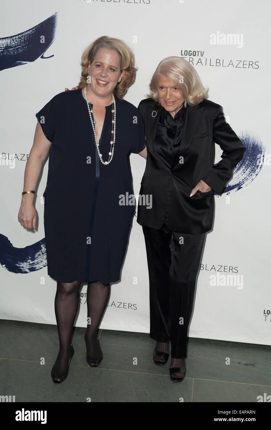 NEW YORK, NY USA - JUNE 23, 2014: Edie Windsor and Roberta Kaplan attend Logo TV's 'Trailblazers' at - Stock Image