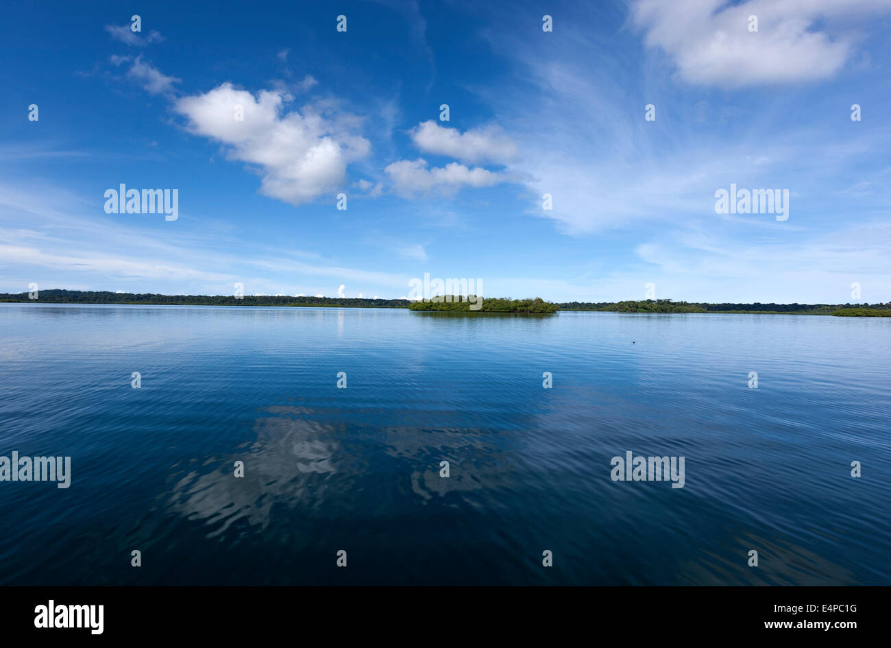 Caribbean water cloud reflexion Bocas del Toro Panama - Stock Image