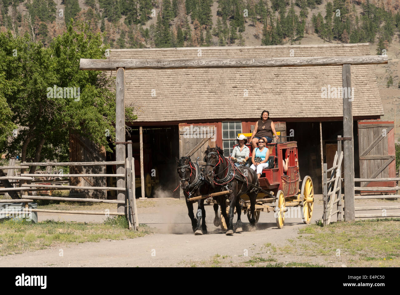 Elk203-3099 Canada, British Columbia, Historic Hat Creek Ranch, stage coach - Stock Image