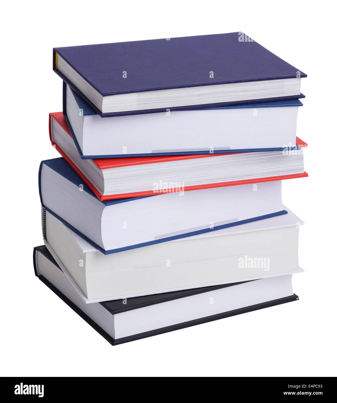 Stack of hard back books - Stock Image