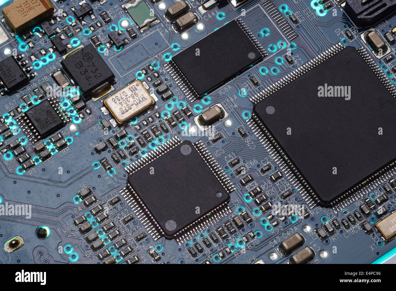 Close up detail of a computer circuit board - Stock Image