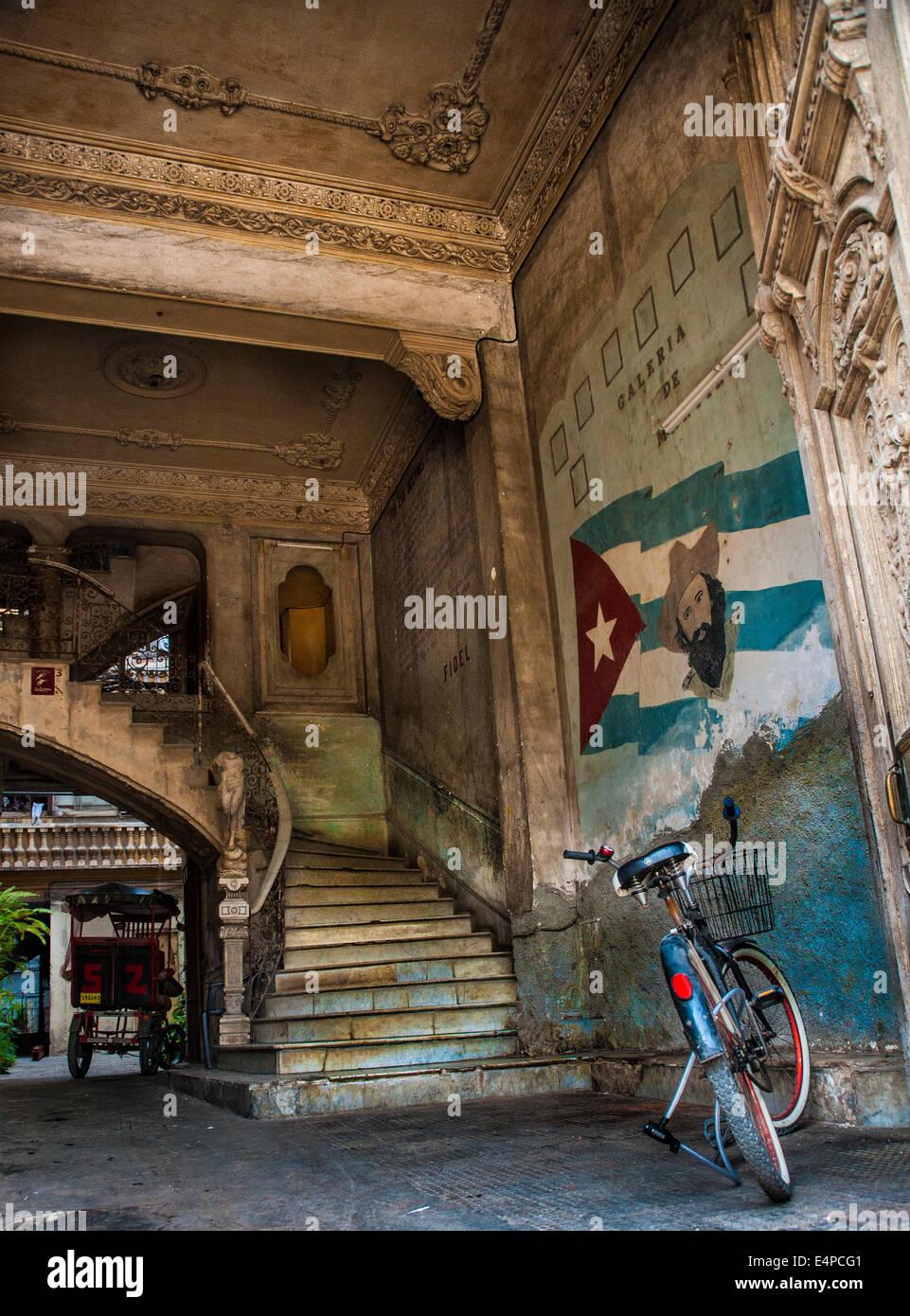 Entrance to La Guarida Restaurant in Havana, Cuba - Stock Image
