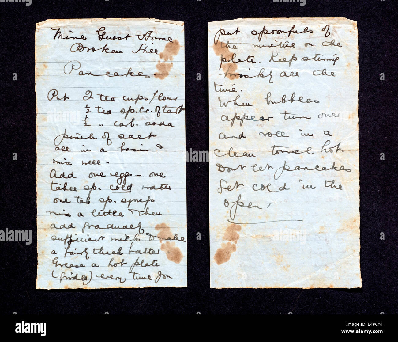 A hand written recipe for pancakes from the Mine Guest House, Broken Hill (now Kabwe) Northern Rhodesia (now Zambia) - Stock Image
