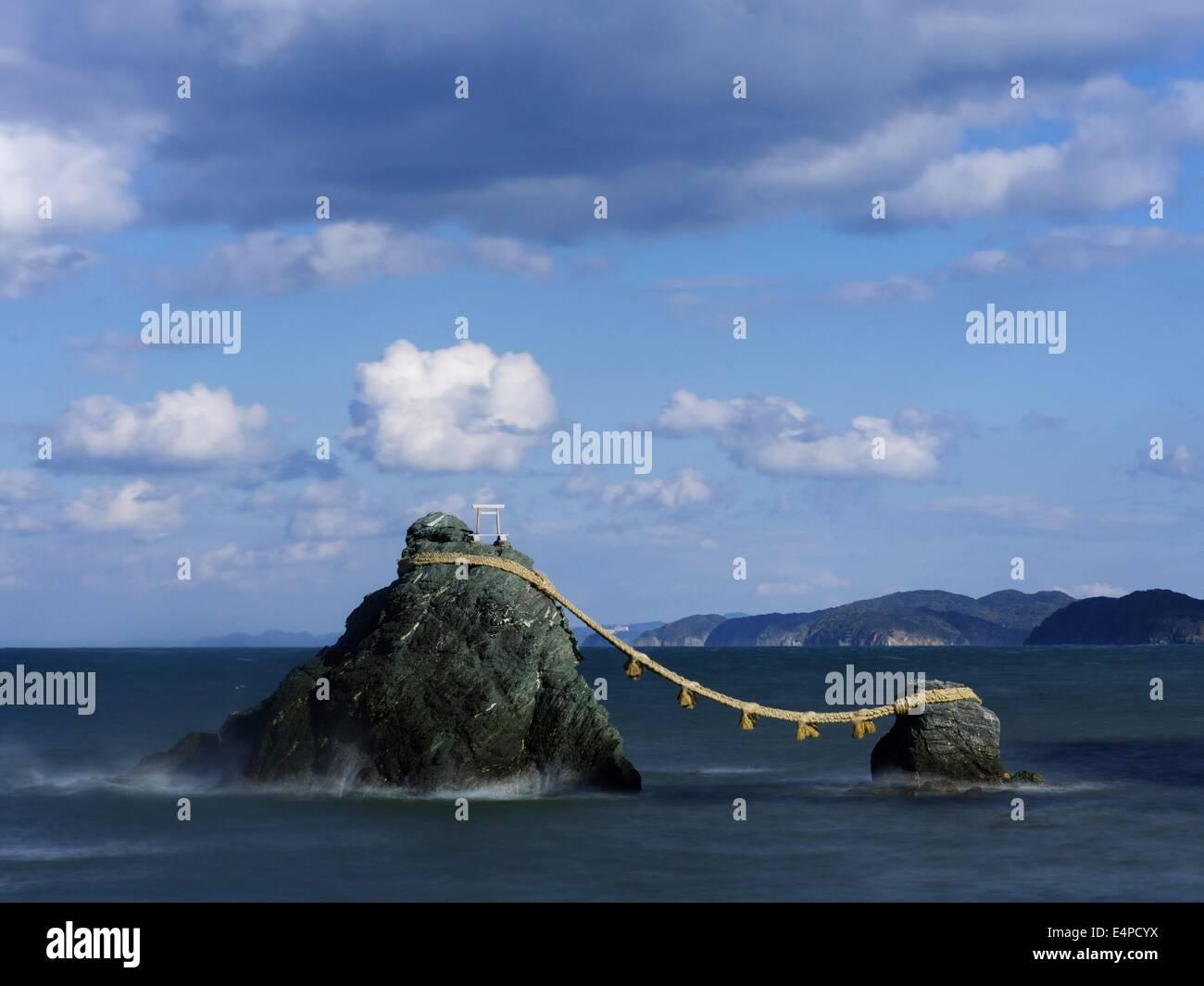 Meoto Iwa, The Married Rocks in Futami, Mie, Japan - Stock Image