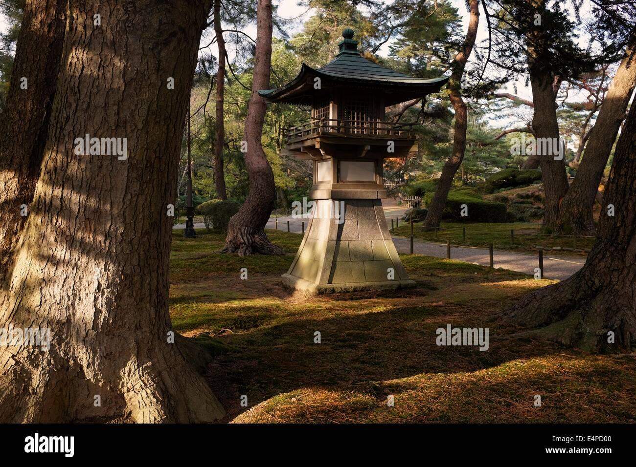 Lantern at Kenroku-en Garden in Kanazawa, Japan - Stock Image