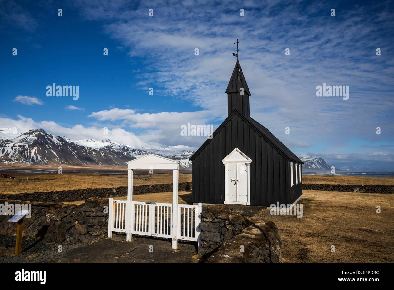 Church of Budir, Snaefellsness Peninsula, Vesturland, Iceland - Stock Image
