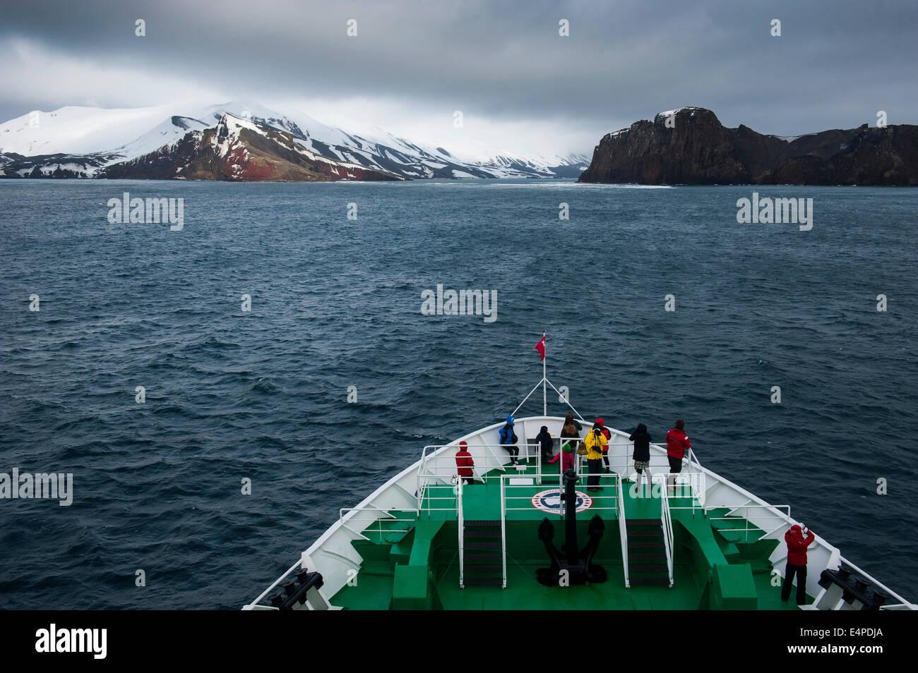 Cruise ship approaching Deception Island, South Shetlands, Antarctica - Stock Image