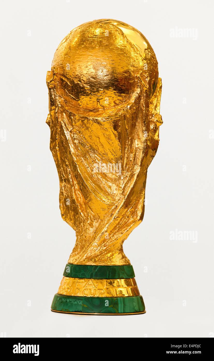 Original FIFA World Cup trophy, designed by sculptor Silvio Gazzaniga, 6.2 kg, 36.8 cm, 4.9 kg of 18 carat gold - Stock Image
