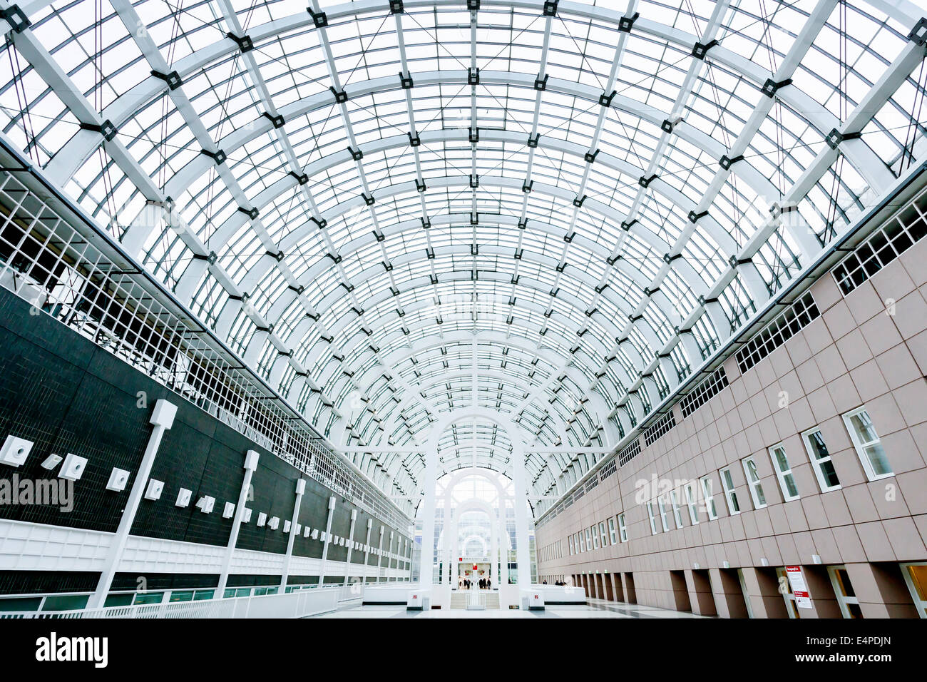 Glass roof of the Galleria exhibition hall at the Frankfurt Messe, Frankfurt am Main, Hesse, Germany - Stock Image