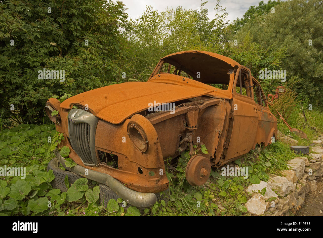 Rusty old Riley 1500 - Stock Image