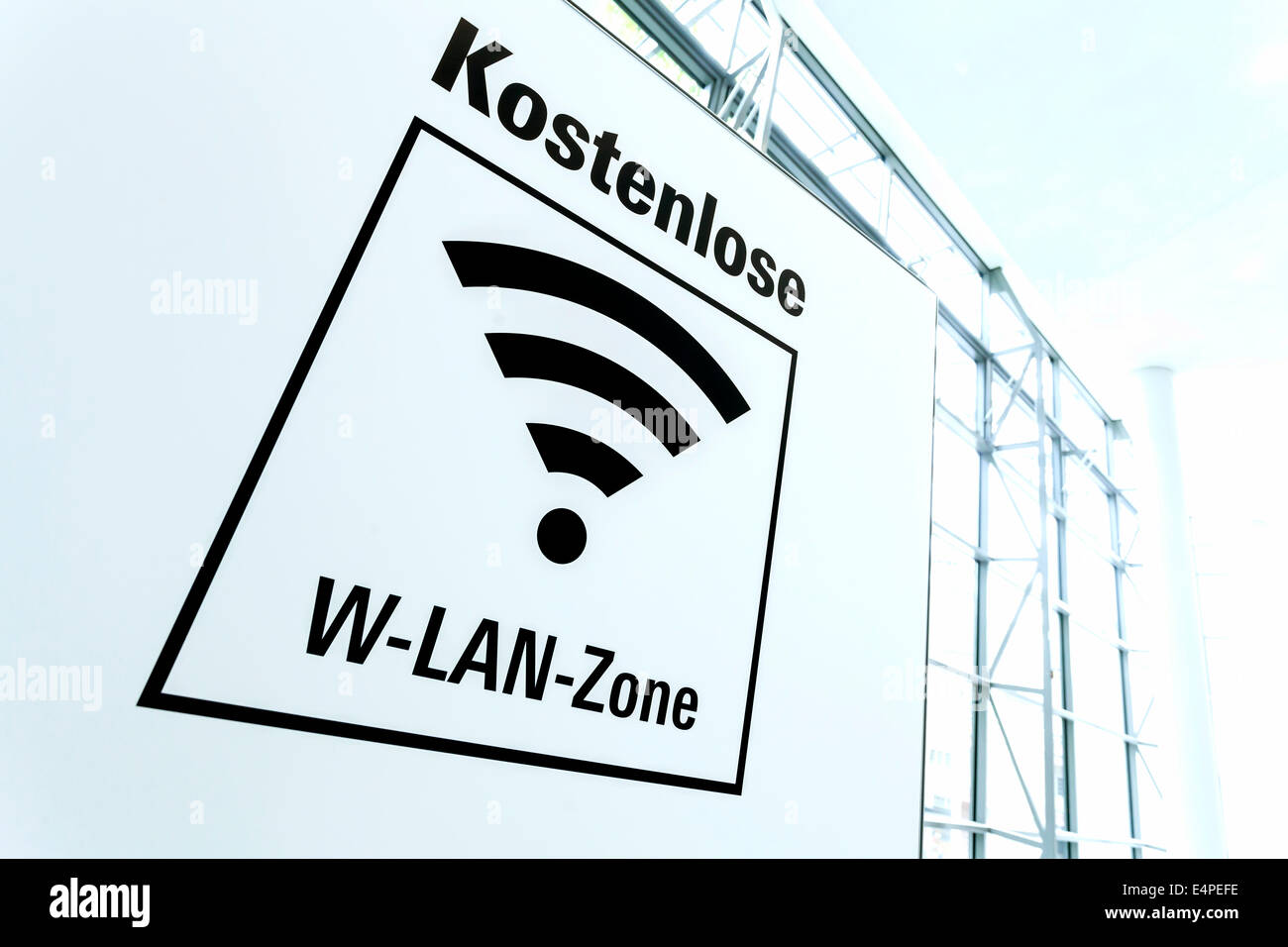 Sign, free Wi-Fi zone, Germany - Stock Image