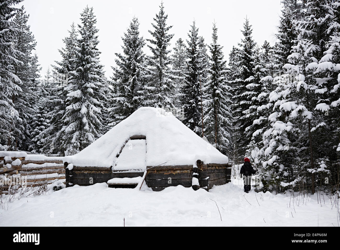 UMEA, Northern Sweden. home Sami indigenous people. - Stock Image