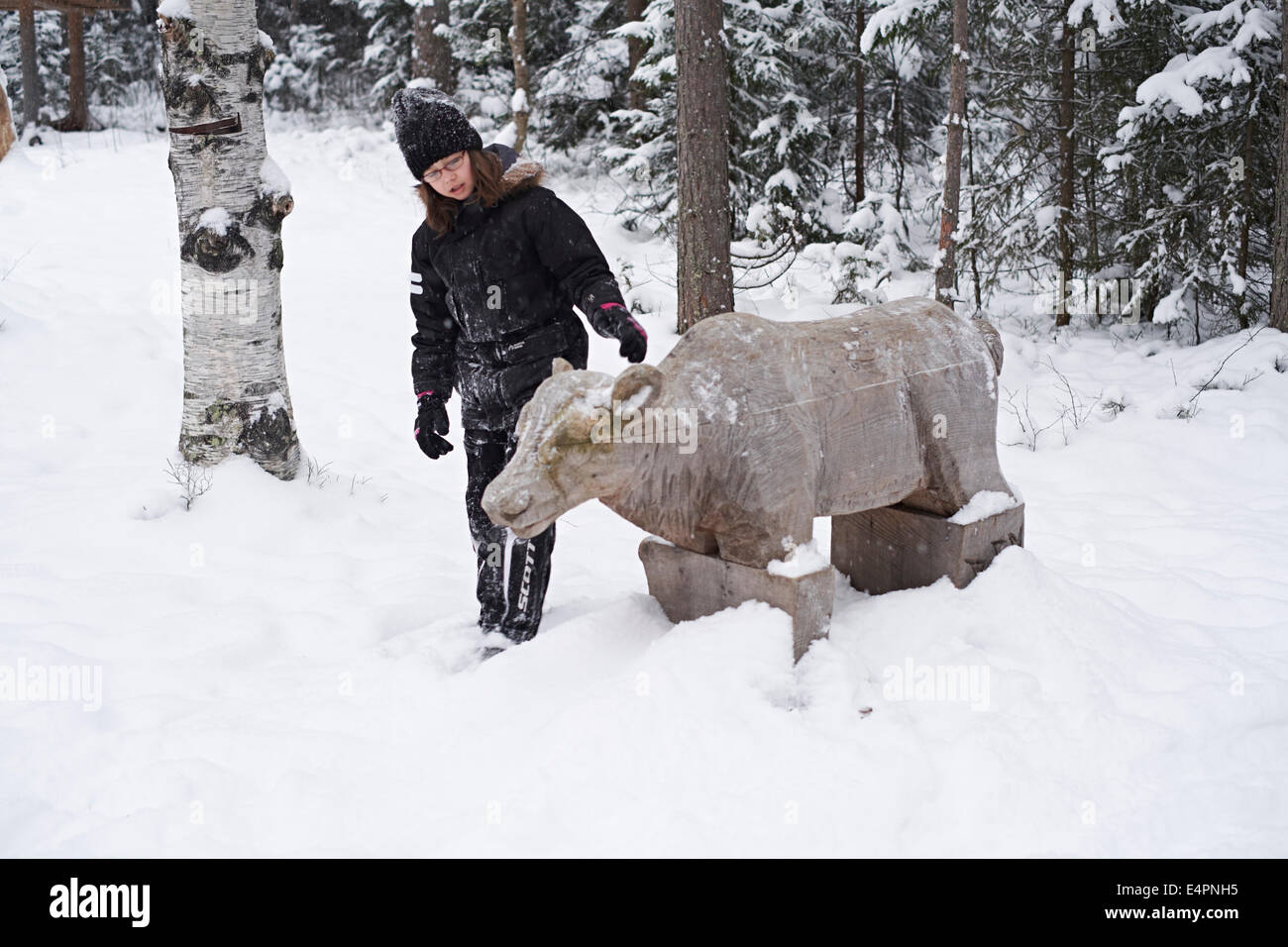UMEA, northern Sweden. Sami camp indigenous people. - Stock Image