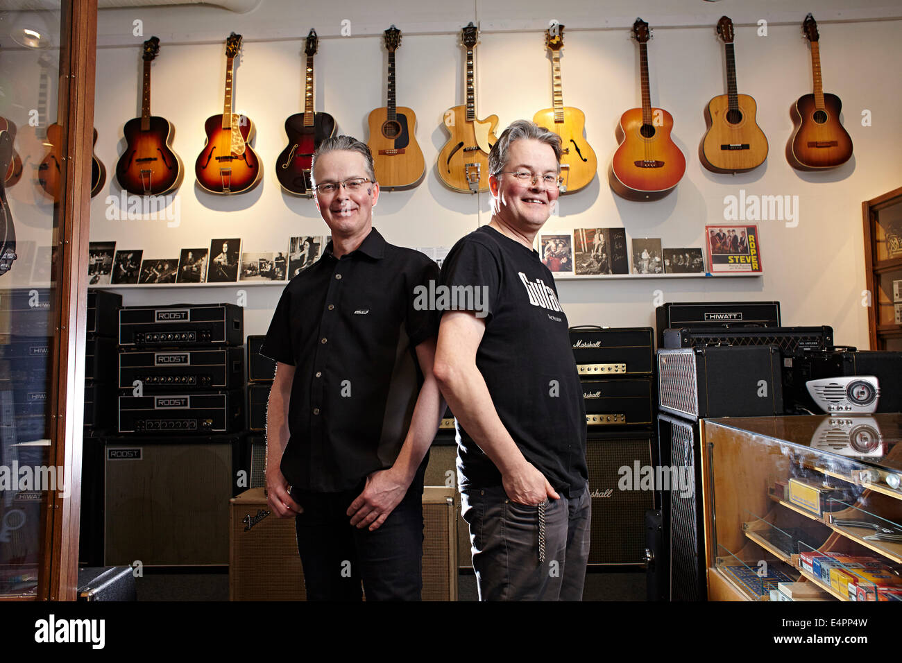UMEA, northern Sweden, world's finest vintage guitar collections. Brothers Samuel and Michael Ahden - Stock Image