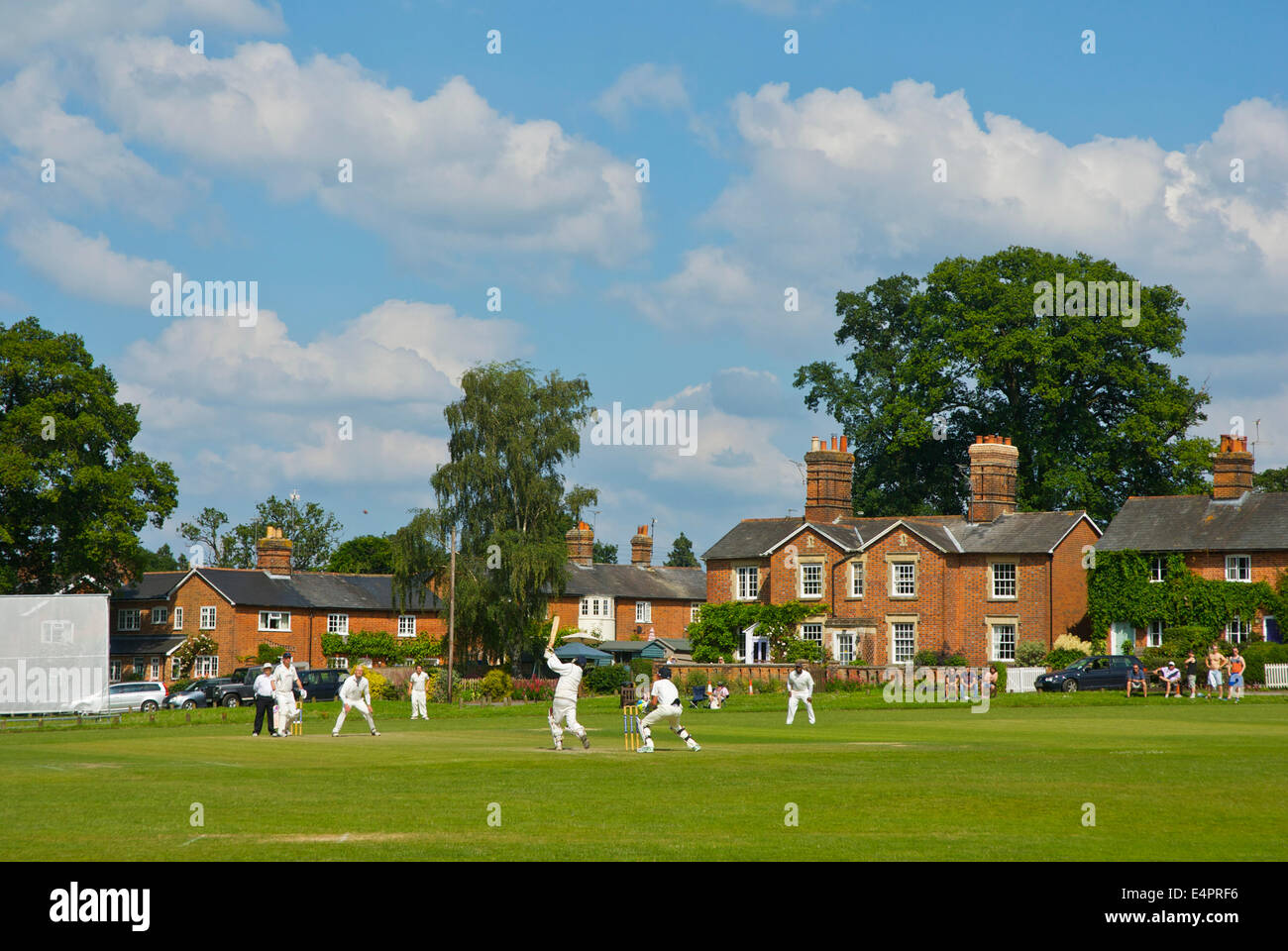 Cricket match in Hartley Wintney, Hampshire, England UK - Stock Image