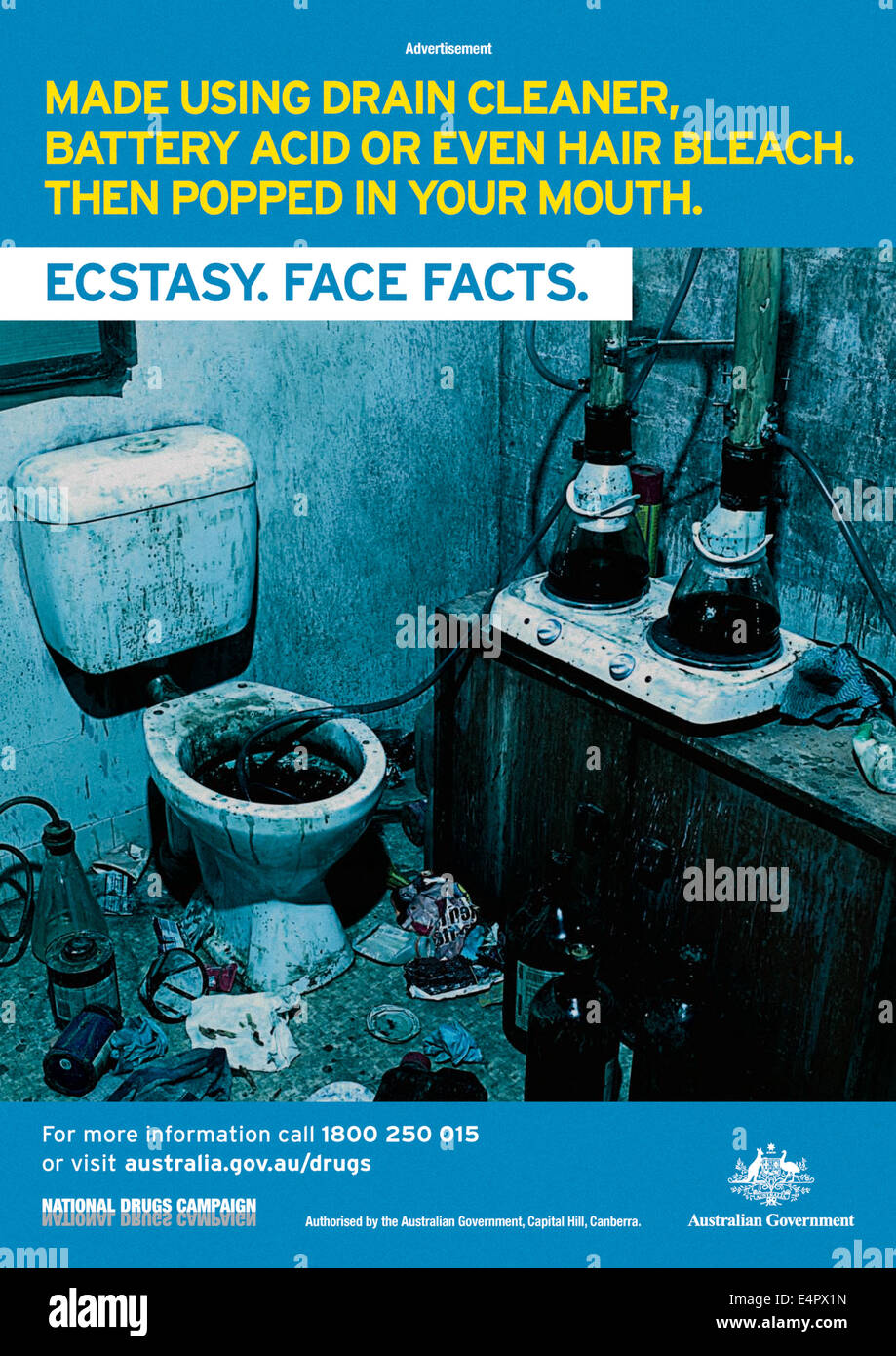 'Made using drain cleaner...' print advert, part of the Australian 'Ecstasy, Face Facts' Campaign - Stock Image