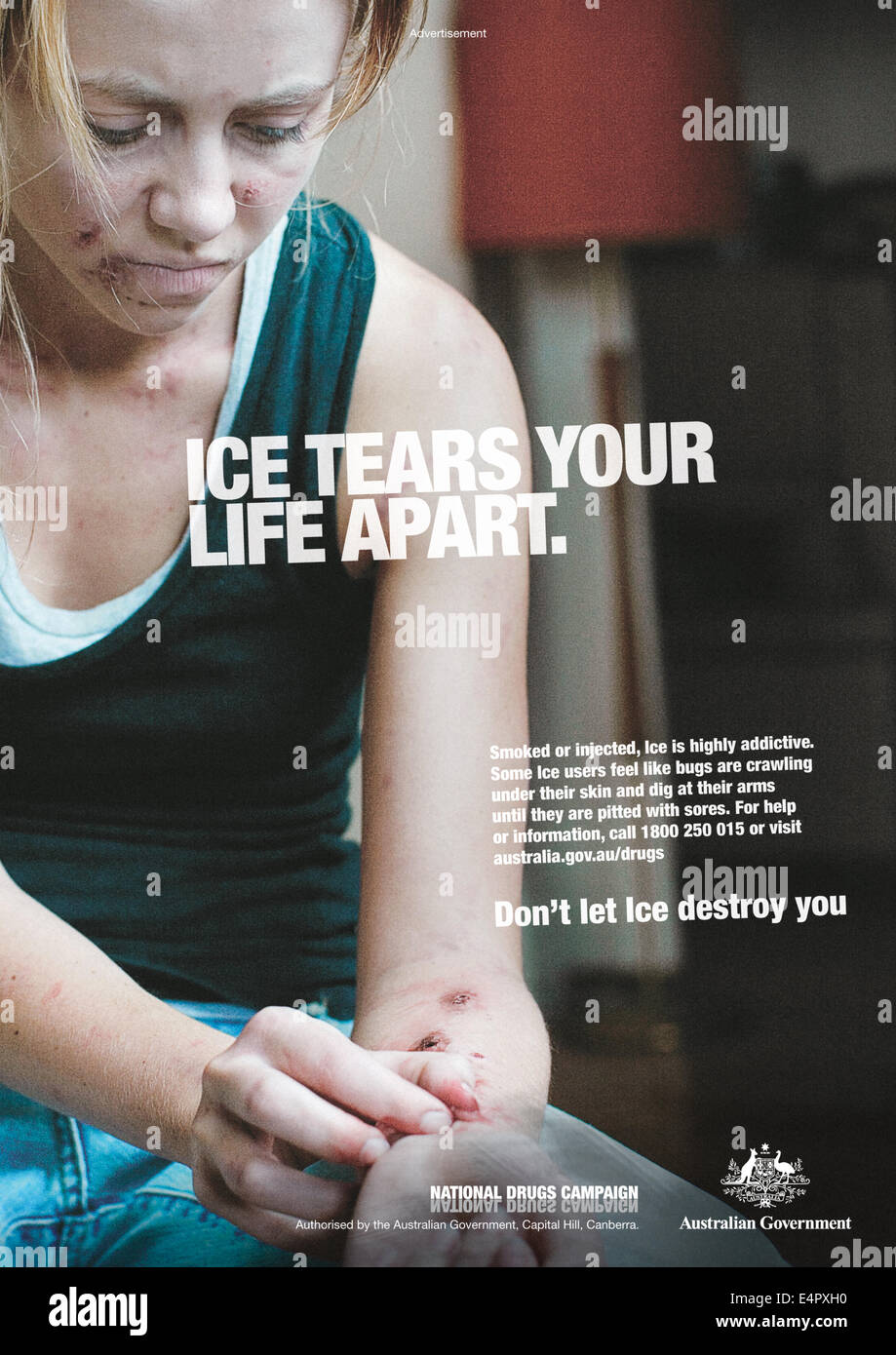 Ice Tears Your Life Apart Print Advert Part Of The Australian Stock Photo Alamy