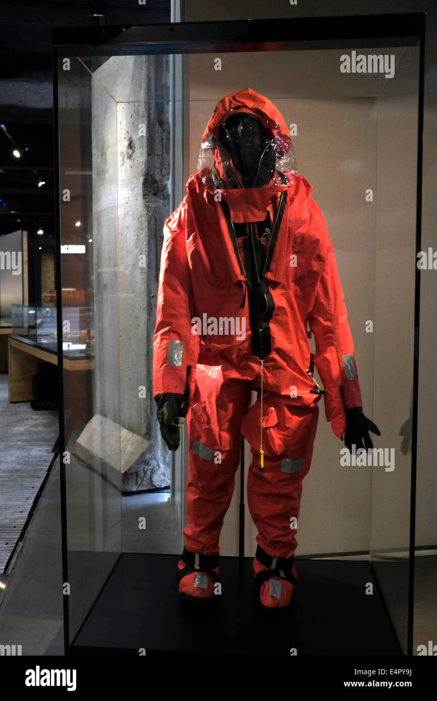 London, UK. 16th July, 2014. Imperial War Museum re opens in London. Radiation suit Credit:  Rachel Megawhat/Alamy - Stock Image