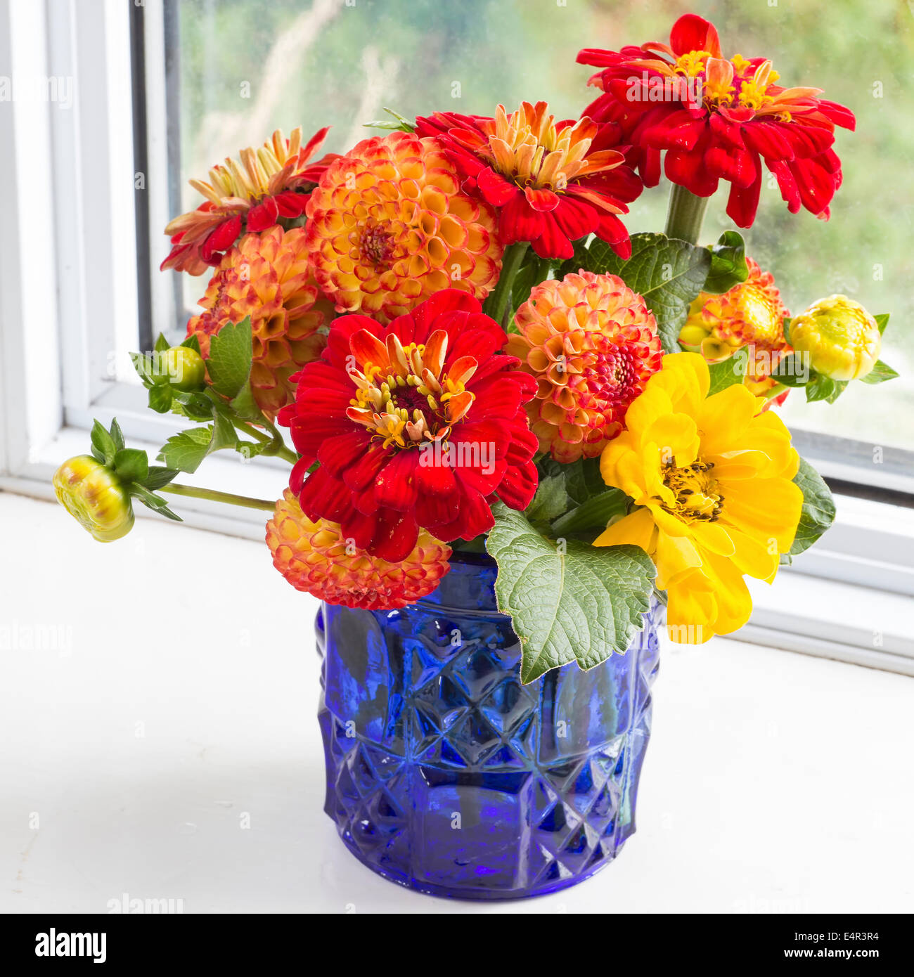 Home Style Fall Bouquet With Garden Flowers Stock Photo 71807992