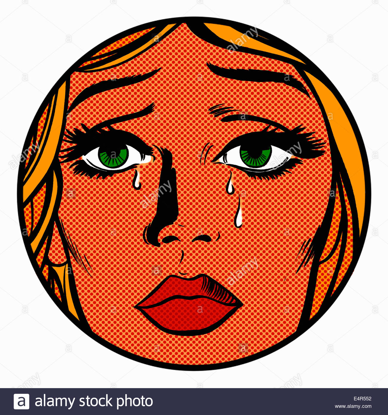 Close up of face of sad, crying woman - Stock Image