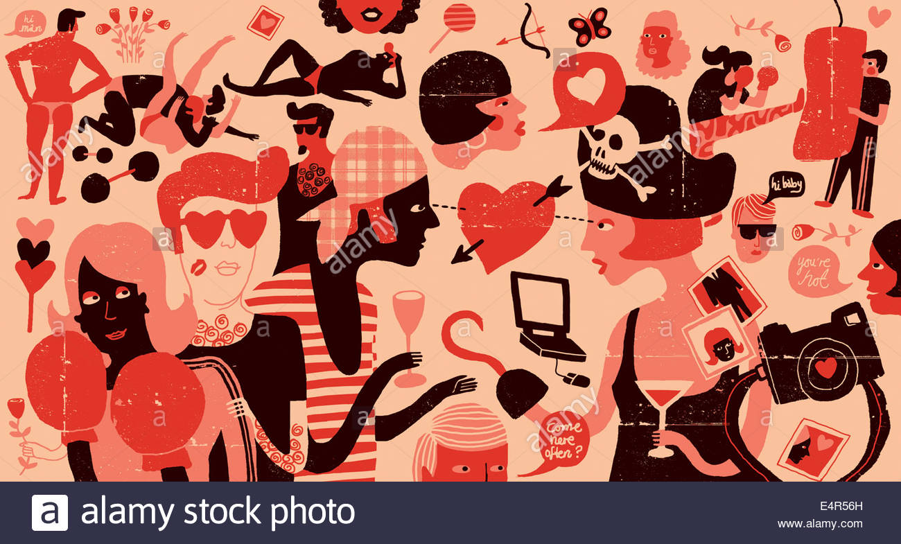 Couples meeting, dating, flirting and falling in love - Stock Image