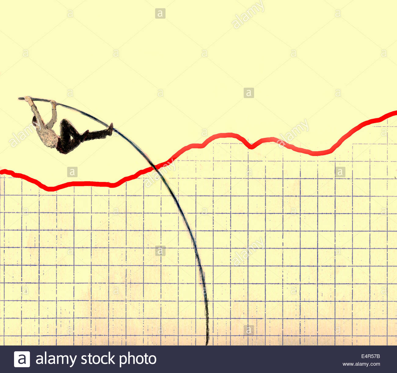 Businessman pole vaulting over red line graph - Stock Image