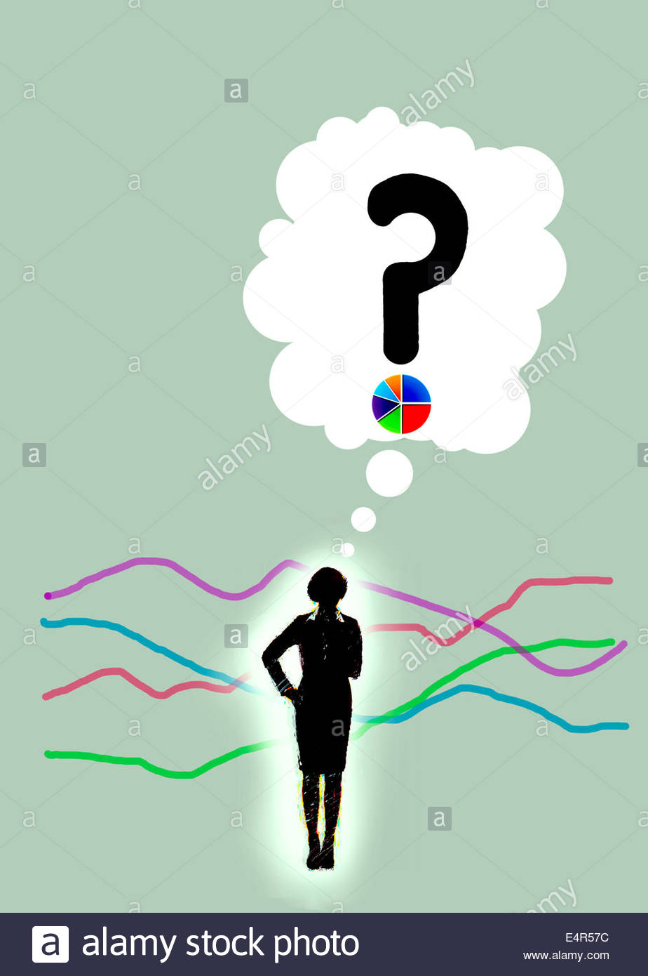 Businesswoman thinking in thought bubble about variety of graphs - Stock Image