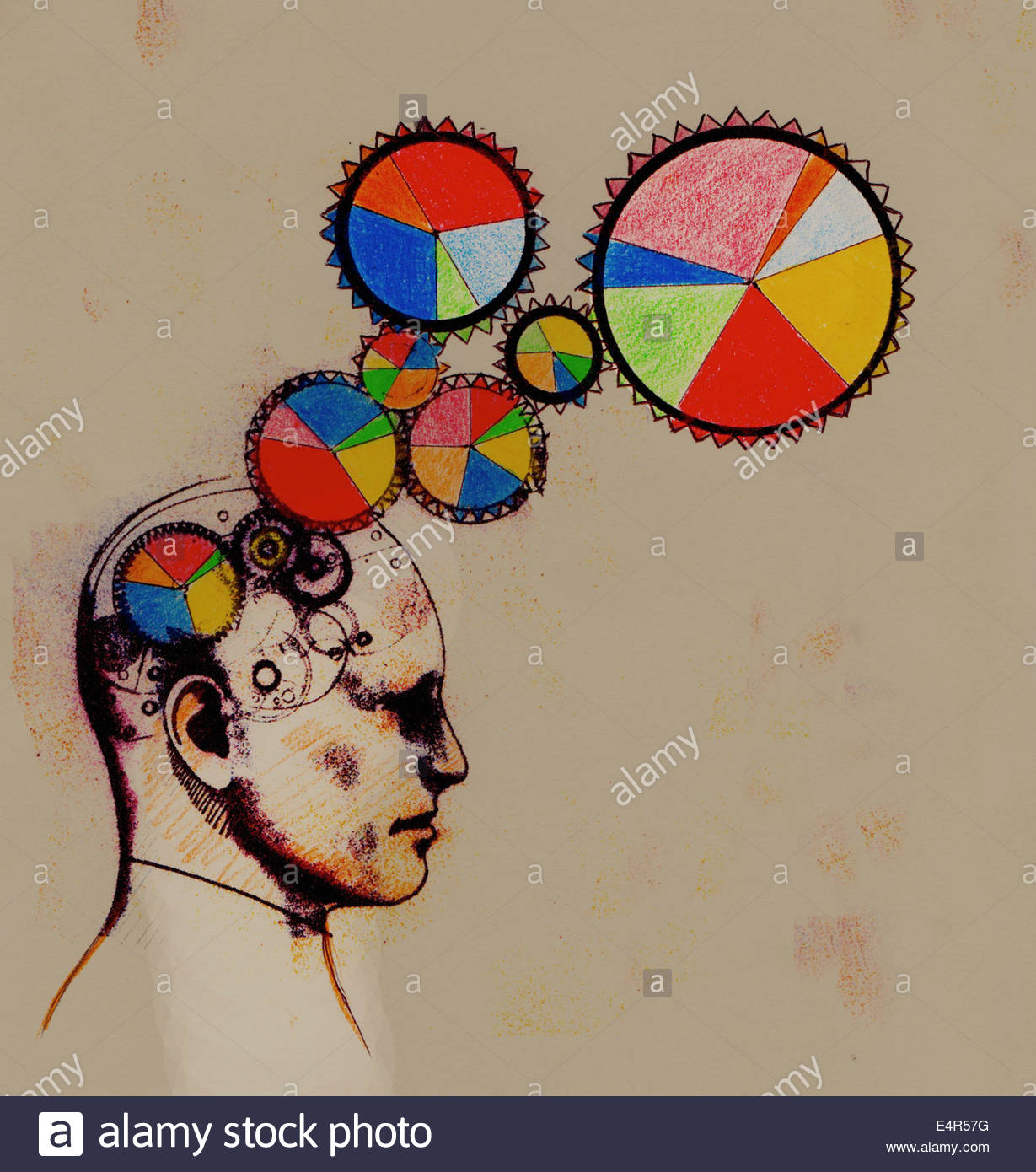 Multicolored pie chart cogs connected to man's brain - Stock Image