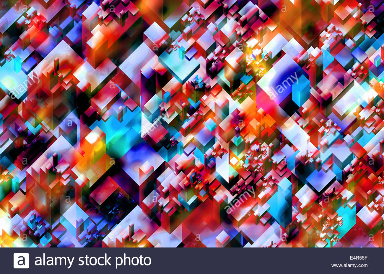 Three dimensional abstract backgrounds block pattern - Stock Image