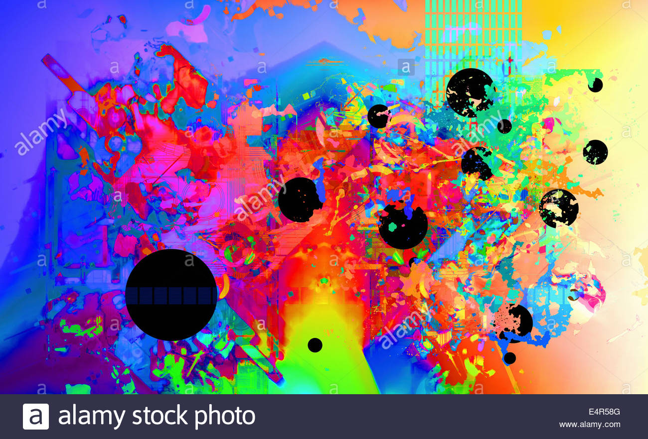 Abstract backgrounds pattern of multicolored splatters and circles - Stock Image