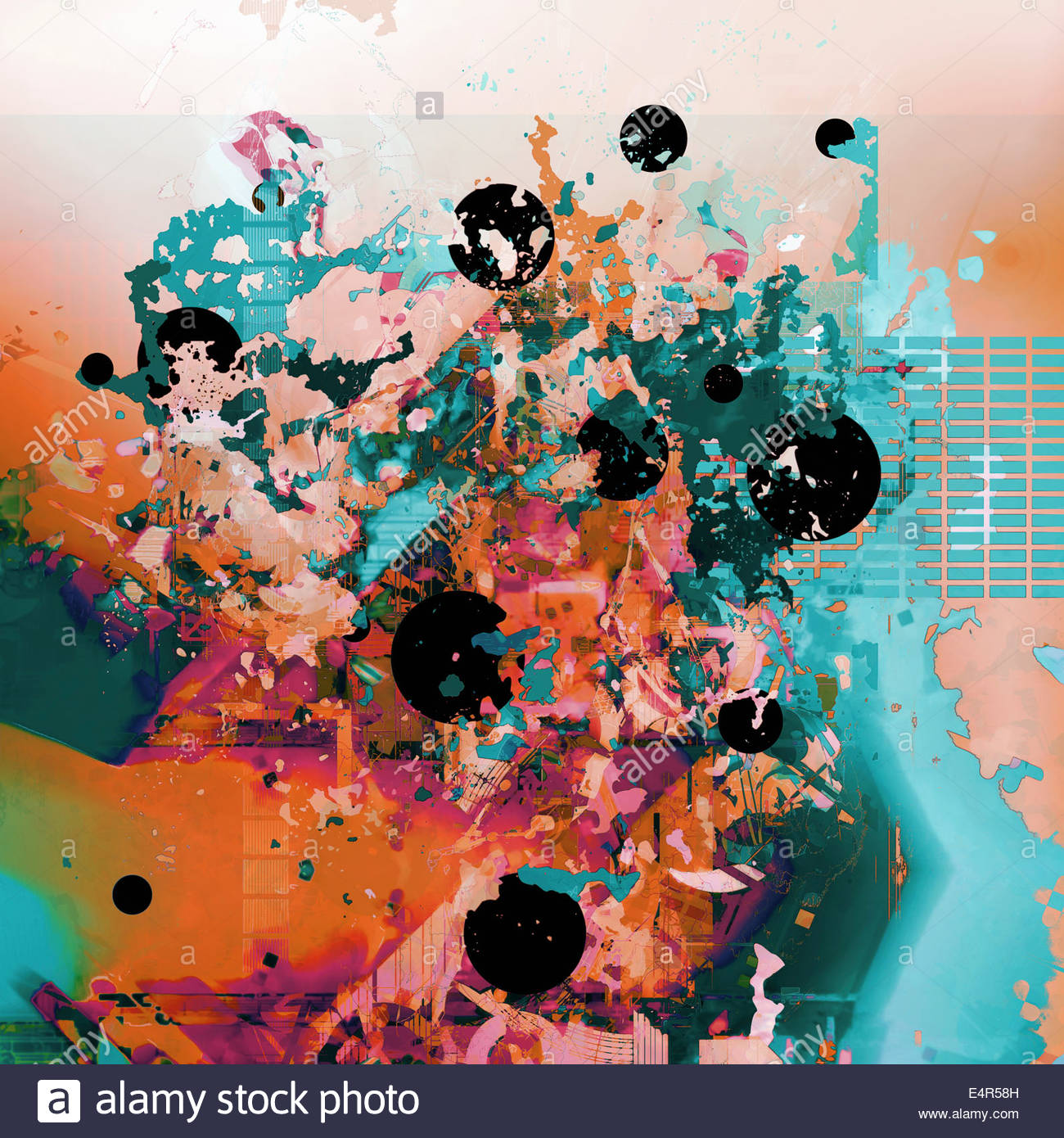 Abstract backgrounds pattern of splatters and circles - Stock Image