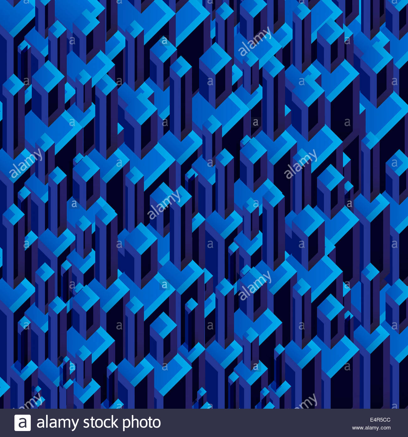 Three dimensional dark blue abstract backgrounds block pattern - Stock Image