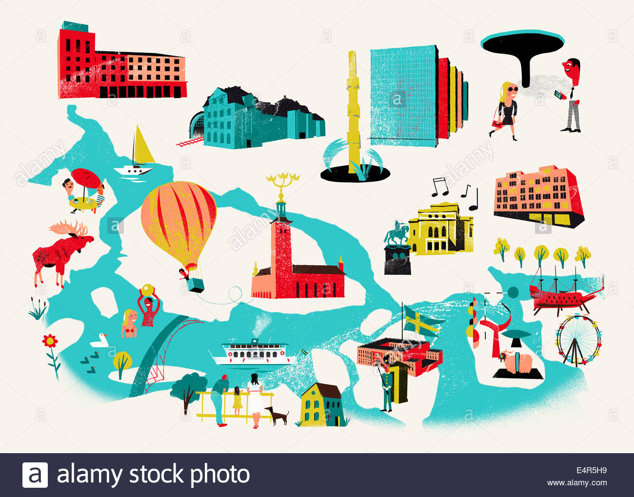 Tourist attractions map of Stockholm Sweden Stock Photo 71809397