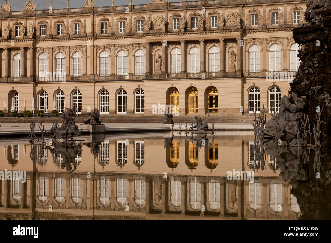 Fama fountain and Herrenchiemsee palace on the island Herreninsel in lake Chiemsee, Chiemgau, Bavaria, Germany, - Stock Image