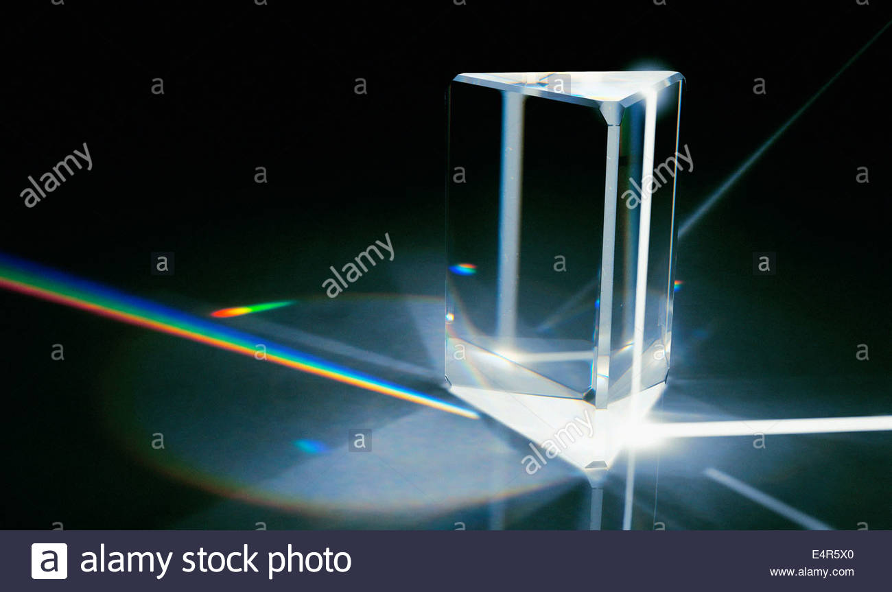 Light beams refracted through prism into color spectrum - Stock Image